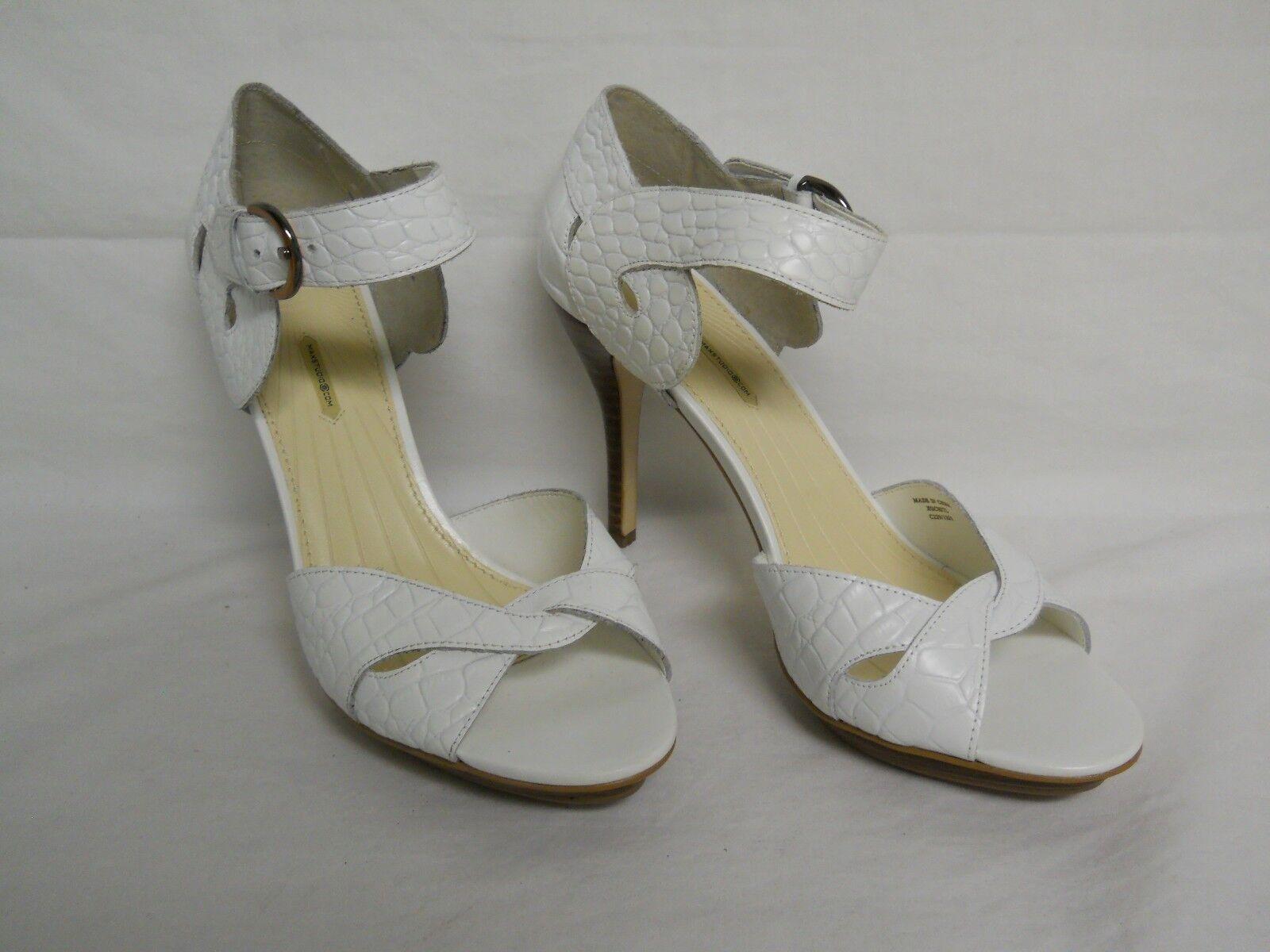 Max Studio NEU Damenschuhe Xochitl WEISS Leder Heels 9.5 M Schuhes NWOB
