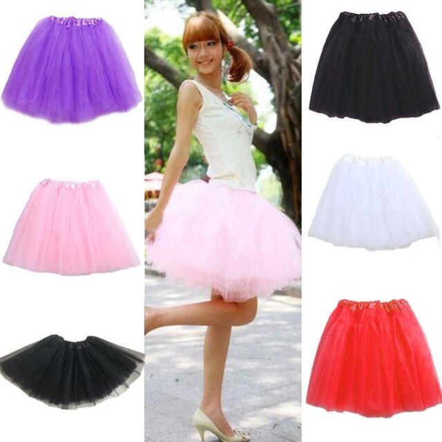 Women Girl Pretty Elastic Stretchy Tulle Dress Teen 3 Layer Adult Tutu Skirt Hot