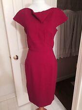 NWT $2295 Roland Mouret IT 44 US 6 burgundy cap sleeves sheath dress