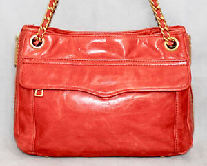 Details About Rebecca Minkoff Swing Orange Leather Convertible Chain Crossbody Shoulder Bag