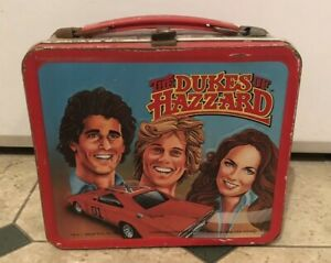 Vintage-Dukes-of-Hazzard-Metal-Lunch-Box-w-thermos-1983-Coy-amp-Vance