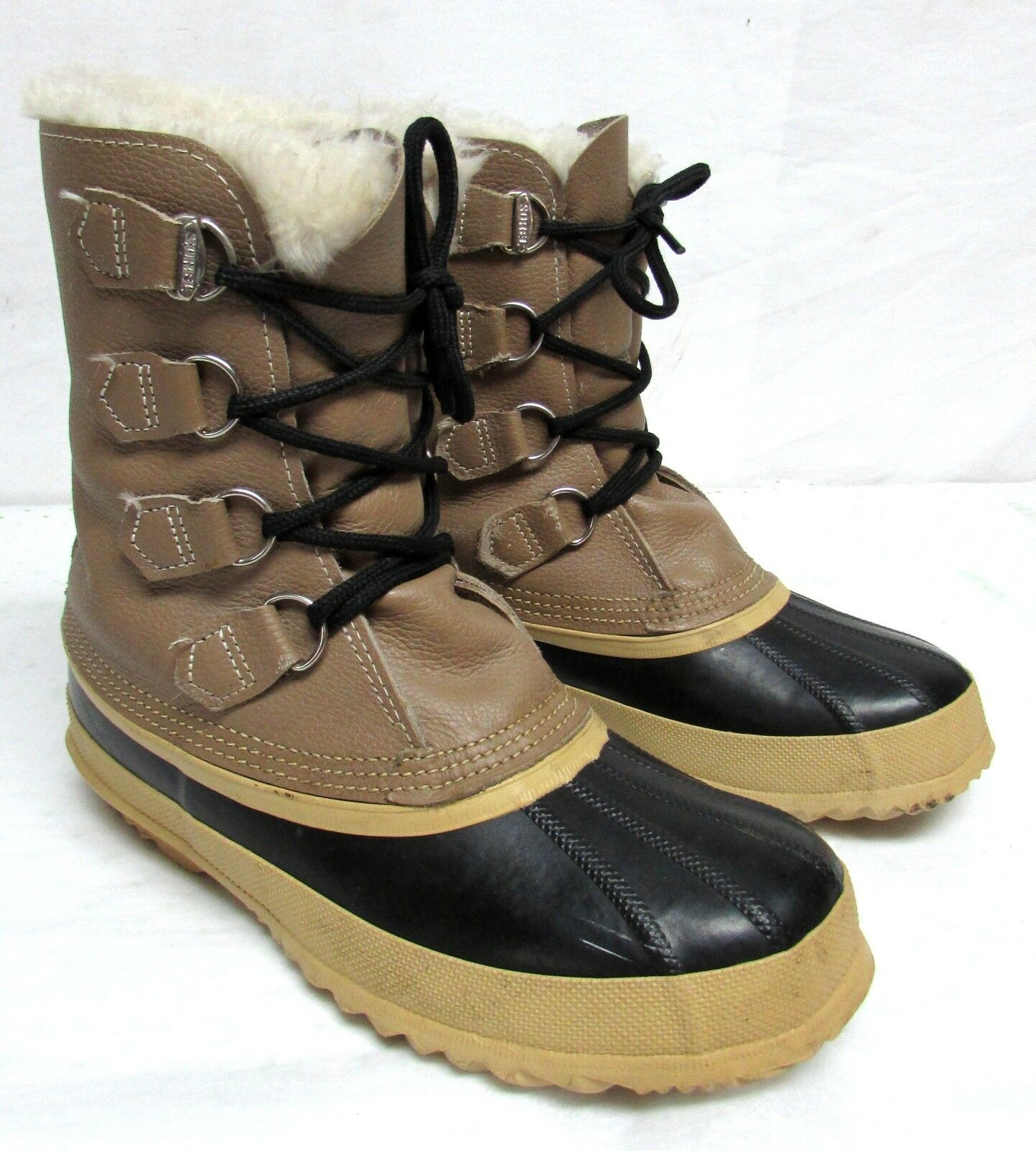 Sorel Damens's Größe 8 rubber and Leder duck Stiefel lined winter