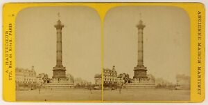 Place Da La Bastille Parigi Francia Foto Stereo PL55L4n Vintage Albumina c1880