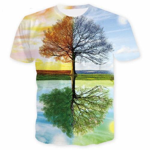 New Fashion Women Men Wish Tree Print Casual 3D T-Shirt Short Sleeve Tops Tee