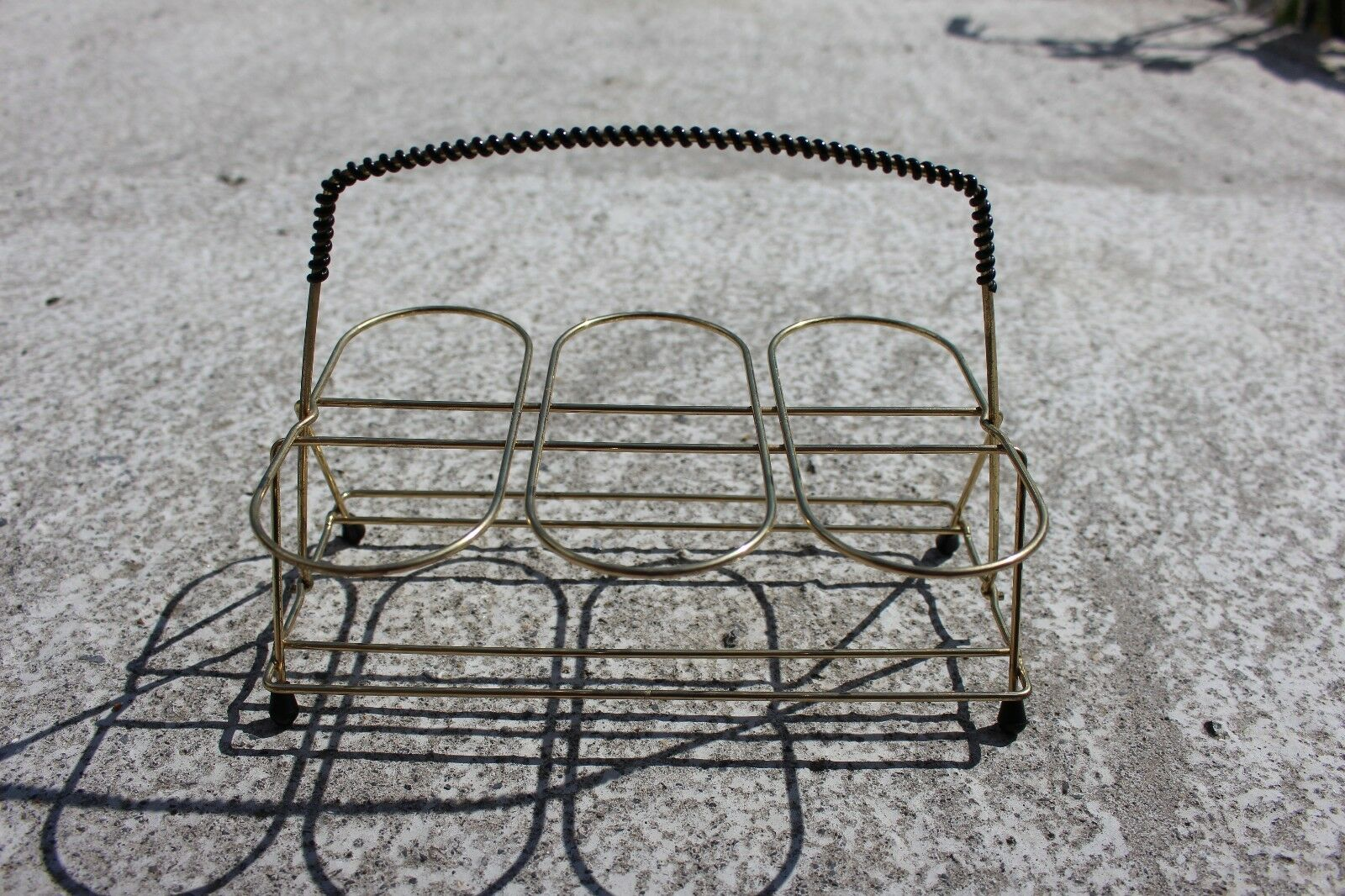 Vintage 50 s Mid Century METAL BOUTEILLE VERRES Panier Support Crate  589