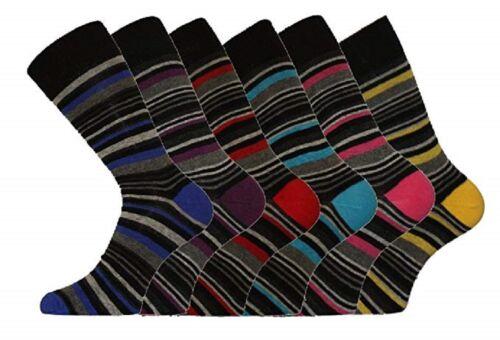 Mens Multi Colour Stripe Heel /& Toe Design Cotton Rich Fashion Socks 6-11 UK