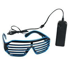 New El Wire Neon LED Light Up Shutter Shaped Glasses for Rave Costume Party