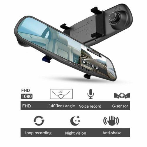 "Mirror Dash Cam 4.3""LCD FHD 1080P 140° Wide Angle Front Rear Dashboard DVR 8GB"
