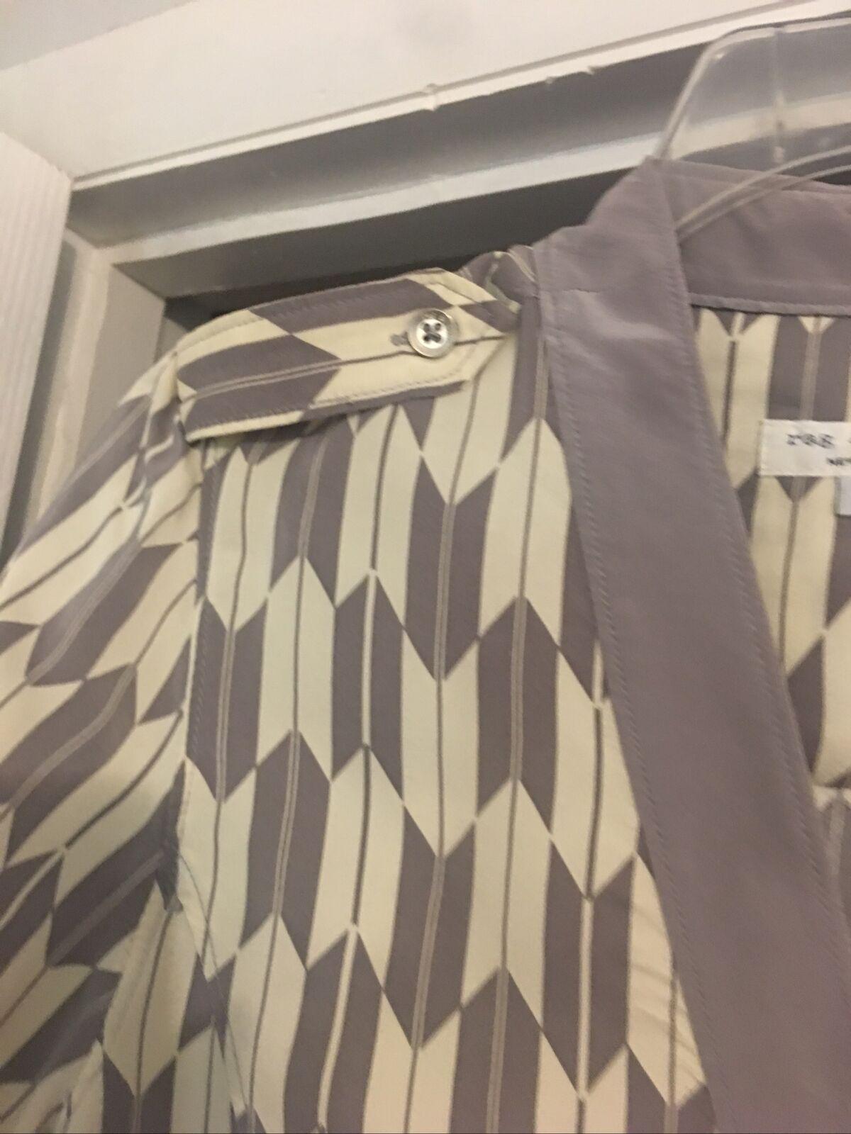 Rag And Bone Dress Gray Taupe Cream Silk Short Sl… - image 4