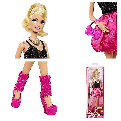BARBIE FASHIONISTAS BLACK AND PINK SPARKLE DRESS BARBIE DOLL NEW IN BOX