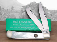 Hen & Rooster And Mother Of Pearl Trapper Pocket Knives on sale