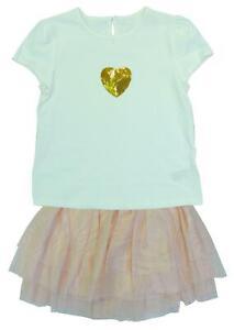 Filles Sequin Heart T-shirt & Paillettes Mesh Tutu Jupe Ensemble 3 mois à 10 ans