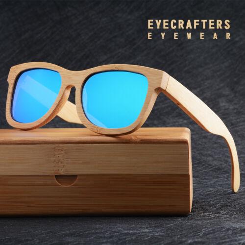 100/% Handmade Natural Bamboo Wood  Polarized Sunglasses Mirrored Wooden Glasses