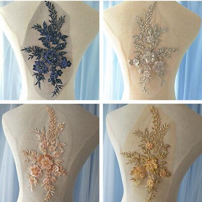 Motif Embroidery 3D Flower Lace Applique Sewing Bridal Wedding Trims H215 1PC