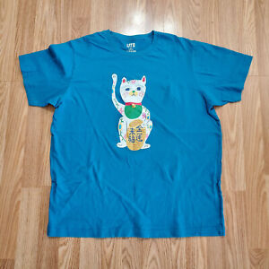 Mens-Uniqlo-UT-Nippon-Omiyage-Japanese-Cats-T-Shirt-size-XL-Blue-Double-Sided