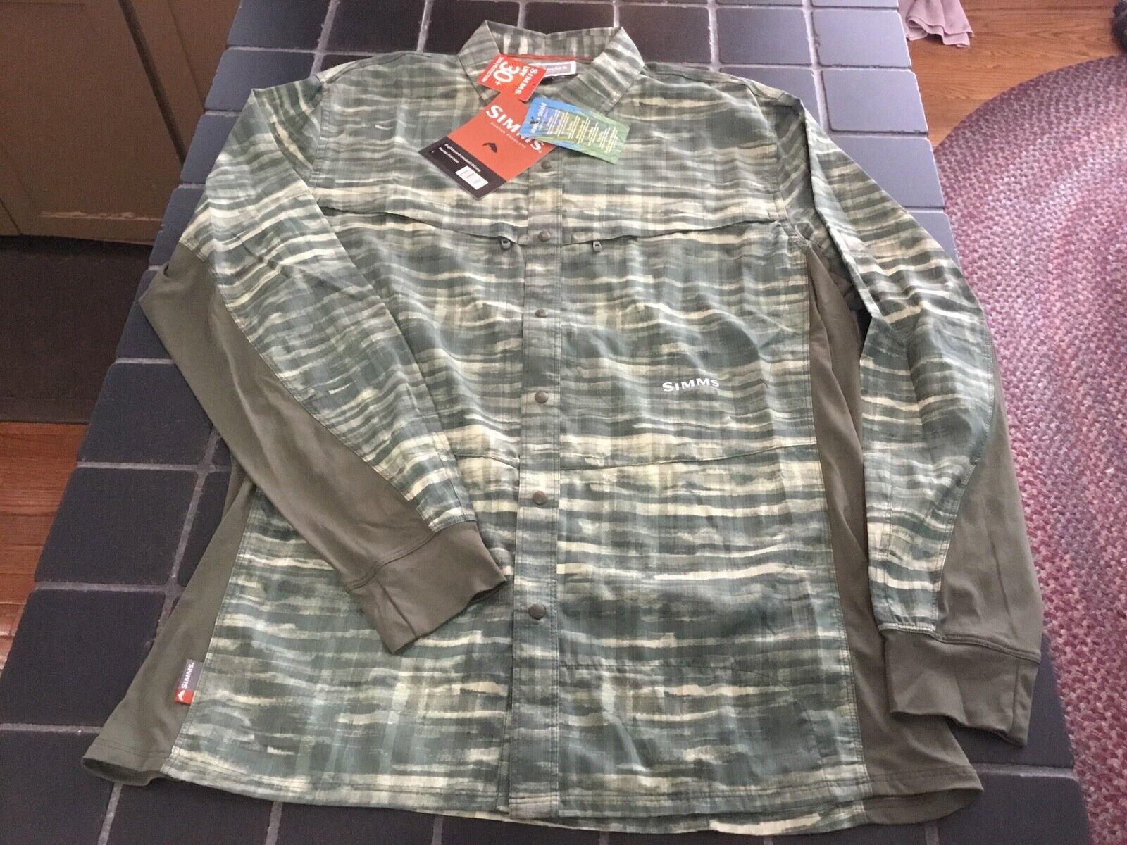 Nuevo con  etiquetas Simms Fishing bugstopper intruso Bicomp Camisa Mangas Largas, L, montaña impresión Loden  comprar barato