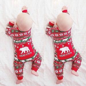 Newborn Toddler Kids Baby Girls Boy Bodysuit Romper Jumpsuit Outfit Xmas Clothes