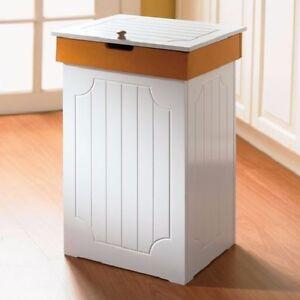 white garbage bin wooden kitchen trash can storage 13 gal organizer wood decor ebay. Black Bedroom Furniture Sets. Home Design Ideas