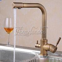 Antique Brass 3 Ways Dual Handles Kitchen Faucets Pure Water Filter Swivel Spout