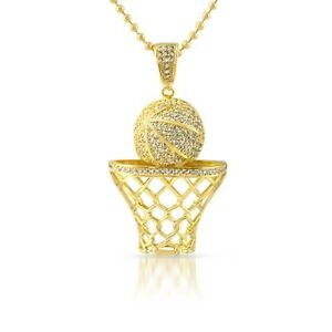 Gold 3d basketball hoop pendant with chain necklace ebay image is loading gold 3d basketball hoop pendant with chain necklace mozeypictures Gallery