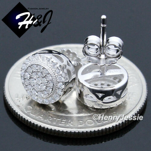 MEN 925 STERLING SILVER 8MM ICY DIAMOND BLING ROUND STUD EARRING*E150