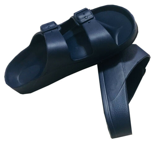 Womens Double Strap Buckle Slide Flip Flop Soft Sandal Beach Shower Navy 7