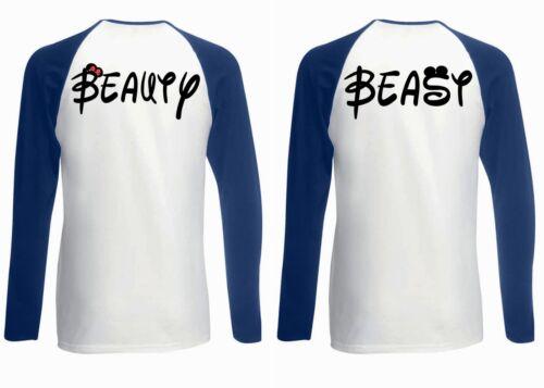 Beauty Beast couple drôle hommes femmes long à manches courtes T-shirt de baseball 1745-46