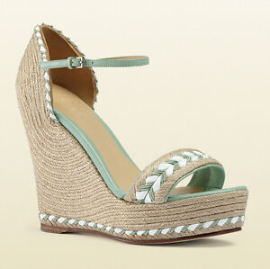 Image is loading GUCCI-Light-Green-Leather-Wedge-Espadrille-Zeppe-Sandals- e268145f2461