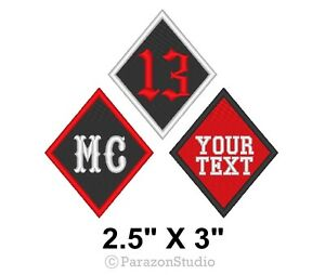 Custom-Embroidered-Motorcycle-Biker-Diamond-Tag-13-MC-Patch-2-5-034-X-3-034-B