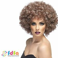 70s NATURAL DISCO BLONDE & BROWN CURLY LARGE AFRO WIG ladies fancy dress costume