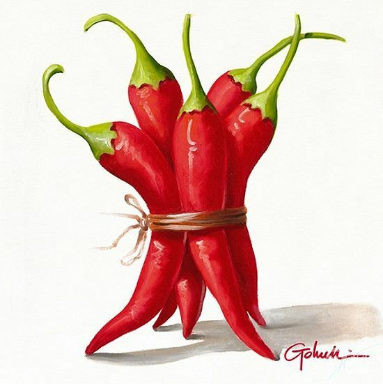Paolo Golinelli: PePeRoNciNi RoSsi Fertig-Bild 30x30 Peperoni Gemüse Küche Essen