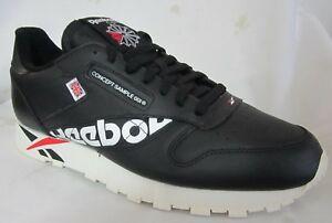 Reebok Cl Leather Mu Black Men Walking Shoes 10 889130595415 ... b047d0663