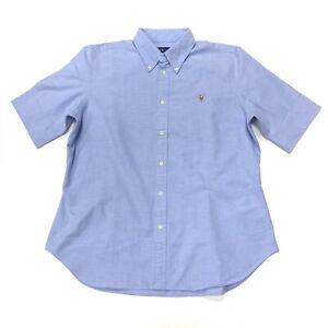 Ralph-Lauren-Femme-Slim-Oxford-Shirt-Dans-Bleu-Clair-Manches-Courtes-Taille-XL