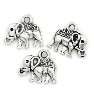 50PCs-Charms-Pendants-Elephant-Animal-Silver-Tone-14x12mm-Jewelry-Making