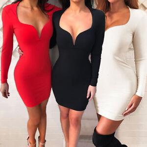 8b2a6330ed7c Sexy Women Winter Long Sleeve Mini Dress Deep V-neck Clubwear ...