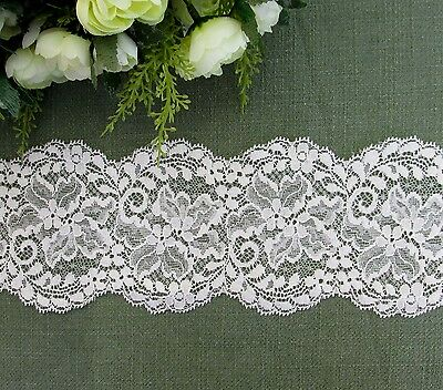 9 cm width Beautiful Milky White Stretch Lace Trim