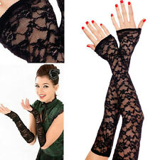 Black Extra Long Elbow Fingerless Flowery Lace Evening Gloves Prom Costume OS US