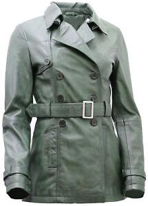 Women-039-s-3-4-Green-Ladies-Lamb-Nappa-Leather-Trench-Coat
