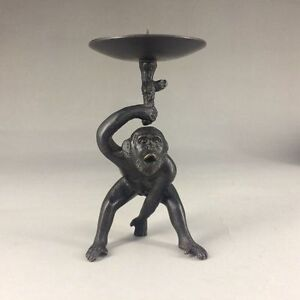 Unique-Chinese-copper-Handwork-carved-monkey-Candlestick