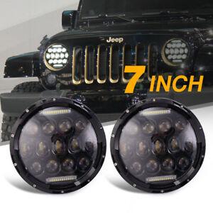Jeep Jk Headlights >> 2x 7 Round Led Headlights Lamp W Drl For Jeep Wrangler Jk Jku Tj