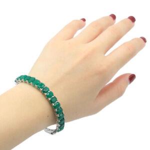"""8x6mm Lovely 15.6g Real Green Emerald For Women Gift Silver Bangle Bracelet 7.5"""""""