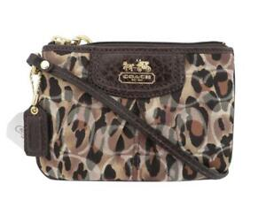 c8ed66a019 New NWT Coach Madison Ocelot Animal Print Brown Signature Wristlet ...