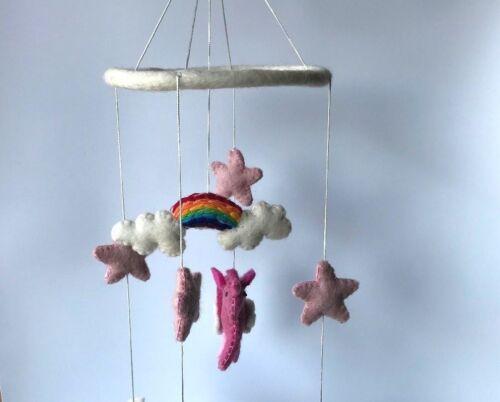 Children/'s room decoration handcrafted felt hanging and mobile Unicorn// Alacorn