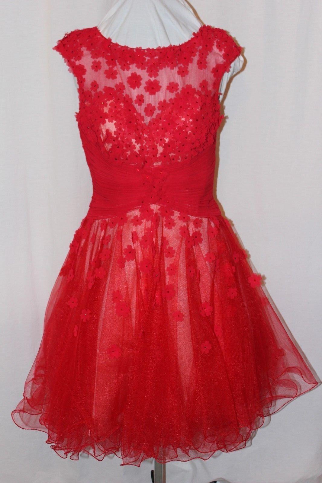 NWT Tony Bowls TS11469 RED Nude short poofy beaded Valentines Ball dress SZ 10