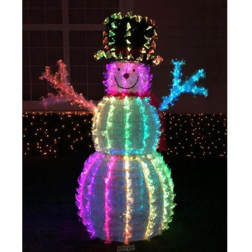 The fiber-optic 4/' Snowman Christmas LED Holiday 23 Pattern Light Show