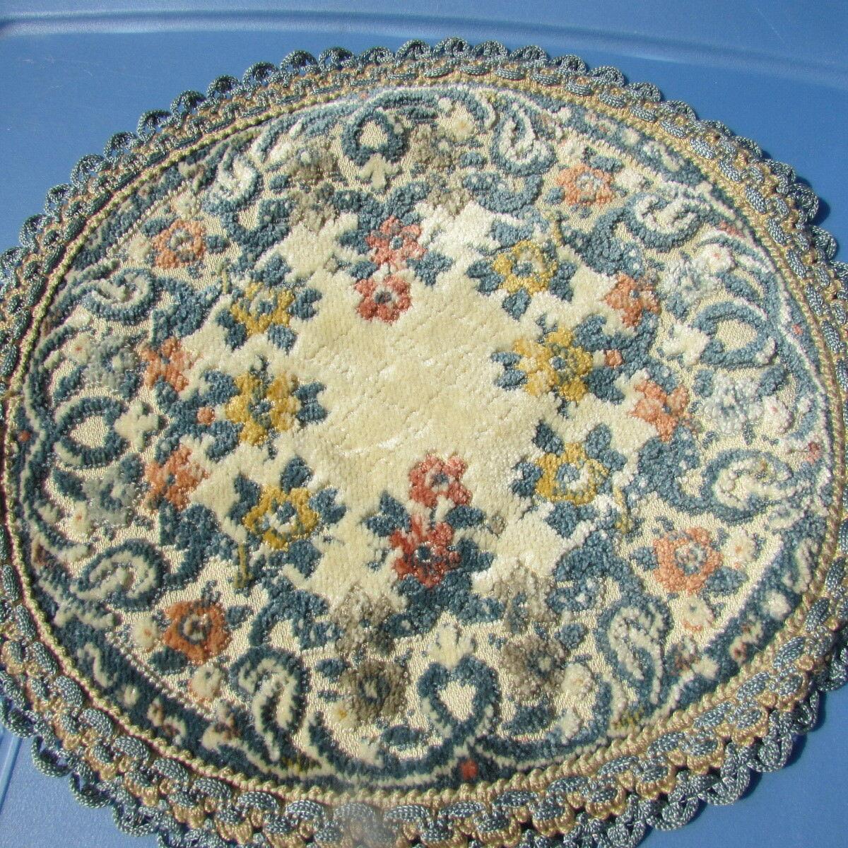 Casa De Muñecas Alfombra Tapiz terciopelo adornado Art Deco Floral Tejido Bélgica 9.5 Wedgwood