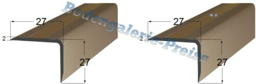 8,87-11,06€//m 27x27mm •270cm • Treppenkantenprofil •gebohrt •ungebohrt •4Farben