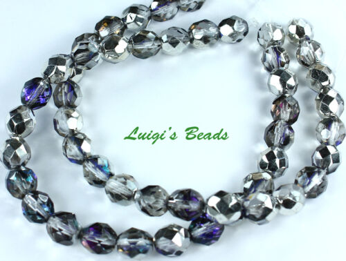 25 Silver//Blue//Crystal Czech Firepolished Faceted Round Glass Beads 8mm