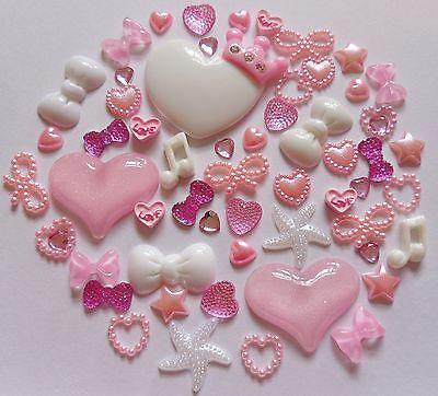 Princess Mix Pink Crown Resin Bows Pearl Rhinestone Hearts Star Flat-Back Craft