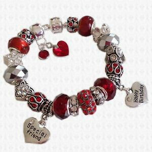 Red Garnet January Swarovski Elements Birthstones Charm Bracelet
